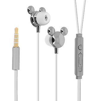 Disney Mickey Mouse Earphones In-ear Handsfree Silicone Silver