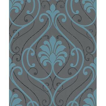 Rasch glitter barokke damast scroll wallpaper Zwart turquoise glans pasta muur