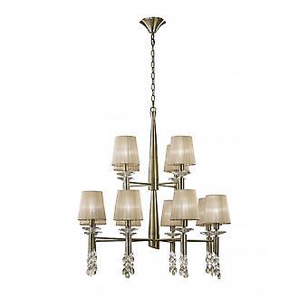 Aspendant Mantra Tiffany 2 Tier 12-12 Light E14-G9, Laiton antique avec des nuances de bronze doux et cristal clair