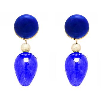 Gemshine Earrings with Lapis Lazuli and Blue Jade Gemstone Drops - Gold plated