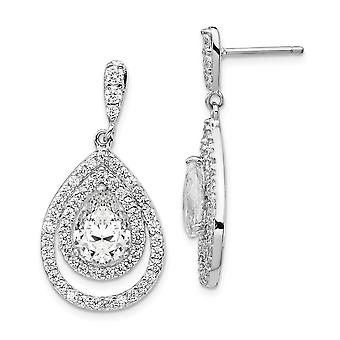 925 Sterling Silver Rhodium-plated Pear Cubic Zirconia Dangle Post Earrings