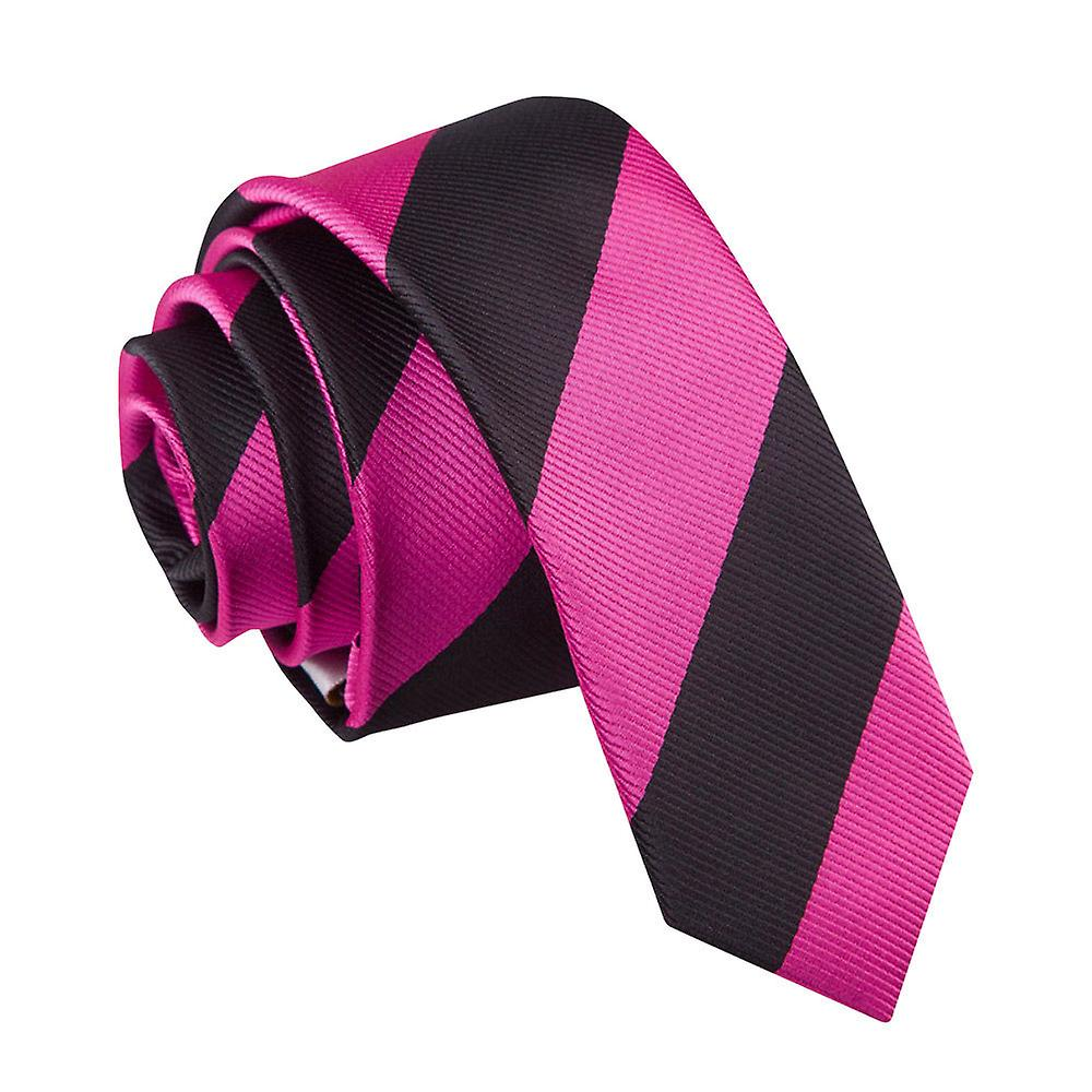 Hot Pink & Black Striped Skinny Tie