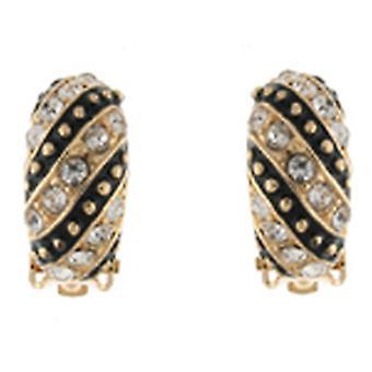 Clip On Earrings Store Gold & Black Enamel and Crystal Semi Hoop Clip On Earring