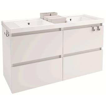 Bath+ Washbasin cabinet 4 drawers 2 Brightness Gloss White 120cm Breasts