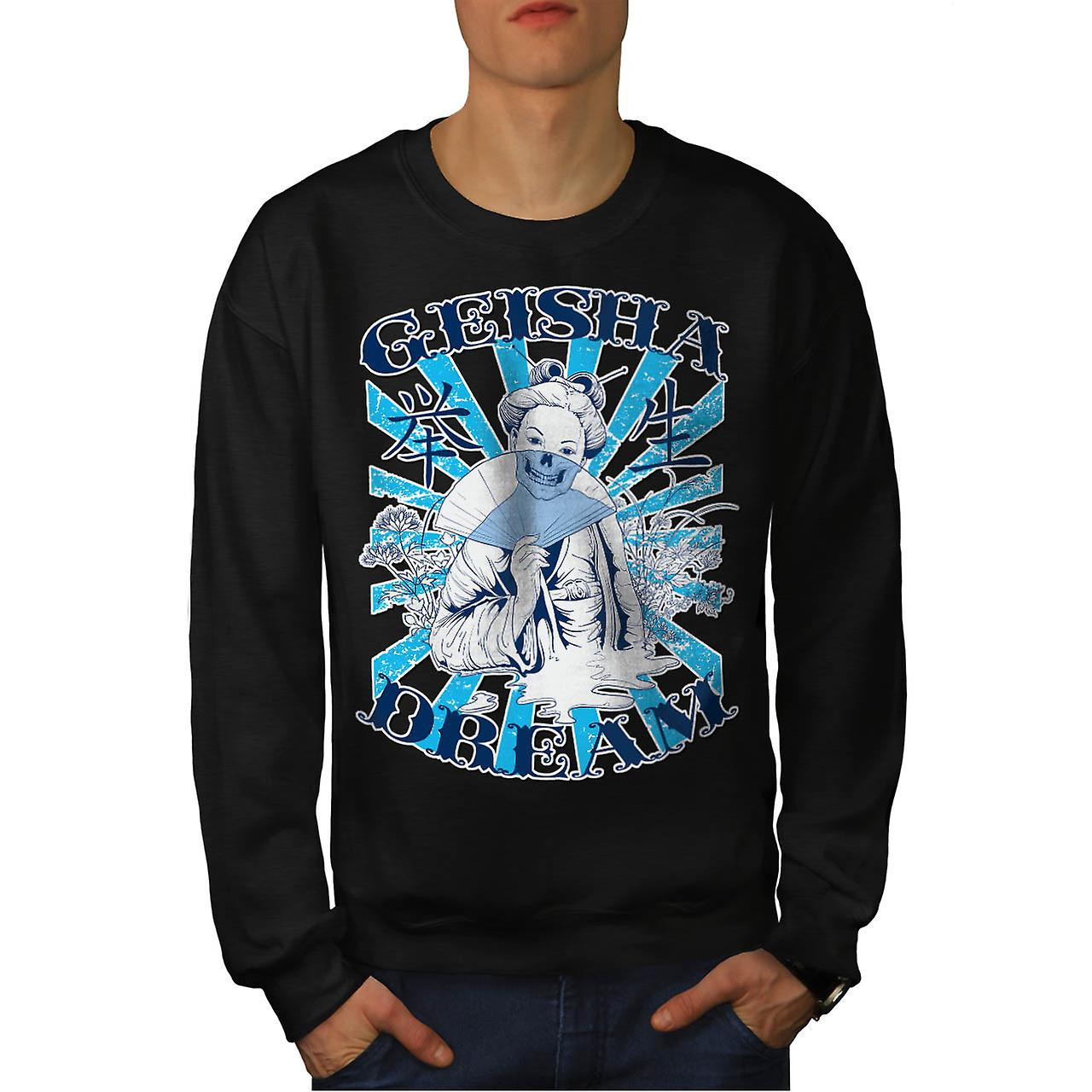 Geisha Dream Night Kyoto Geiko Men Black Sweatshirt | Wellcoda