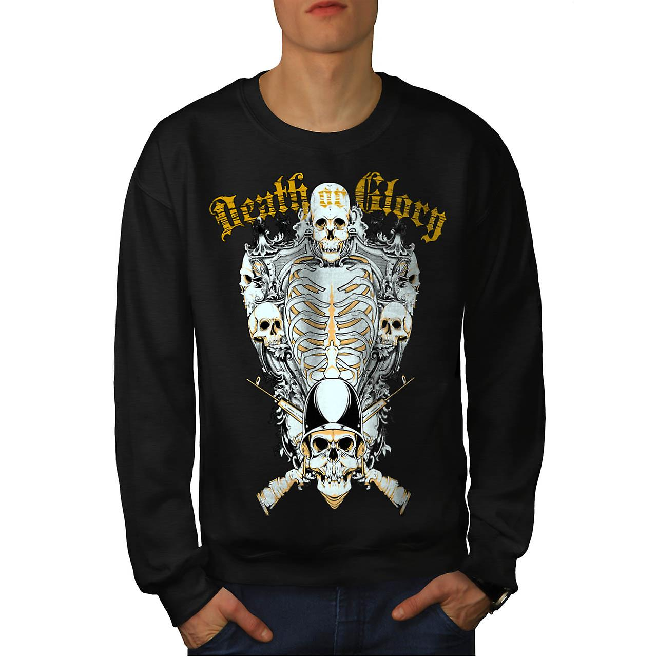Death Glory Grave Gun Skull Army Men Black Sweatshirt | Wellcoda