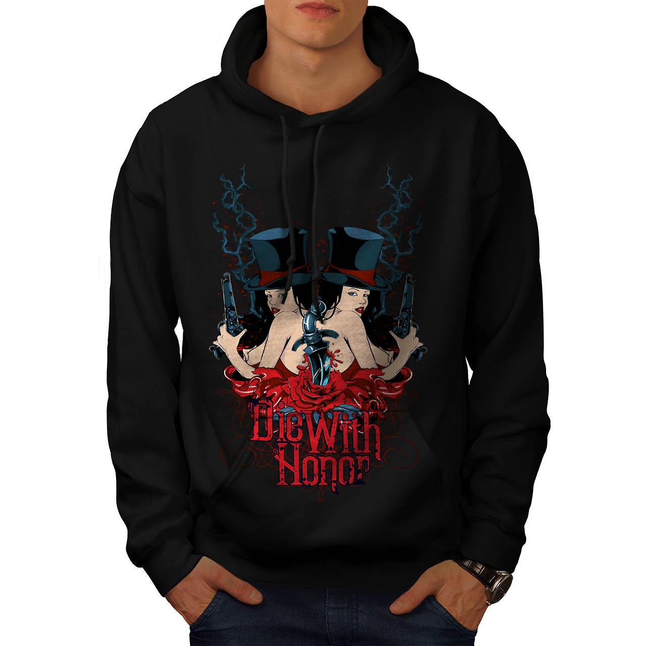 Die With Honour Girls Gangster Men Black Hoodie | Wellcoda