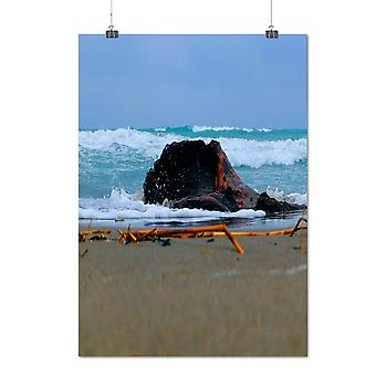 Matte or Glossy Poster with Beautiful Sea Wave Nature Summer Vacation | Wellcoda | *q1458