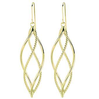 14 k Gelb Gold Freiform-Dbl.Hoop Ohrringe