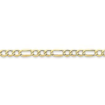 10k Yellow Gold gepolijst Lobster Claw sluiting 6.6mm Halfmassief figaroketting armband - lengte: 7 tot en met 8