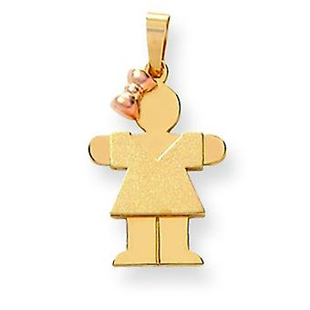 14k Two-Tone Gold Small Girl with Bow on Left Engraveable Charm - 1.5 Grams