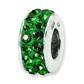 Sterling Silver Polished Reflections Green Double Row Crystal Bead Charm
