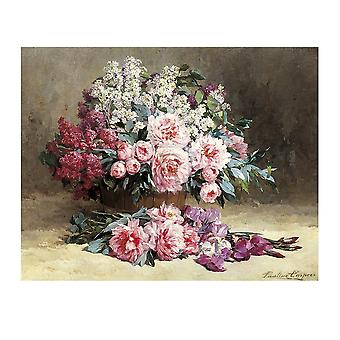 Lilac and Peonies with Irises Poster Print by Pauline Caspers (31 x 25)