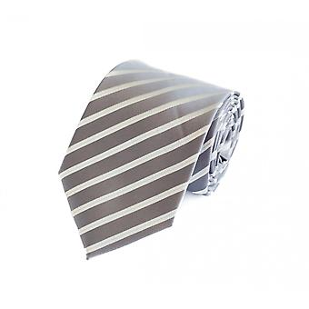 Noble tie 8cm Fabio Farini in silver-grey with white stripes and pinstripes in light grey