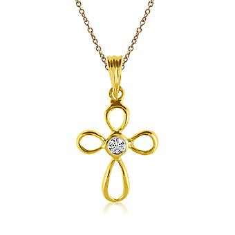 14K Yellow Gold Diamond Cross Pendant with 18