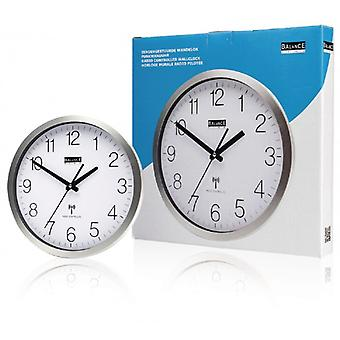 Balance Radio-Controlled Wall Clock 30 cm Analogue Silver/White