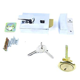 Chrome Finish Specialist Double Locking Nightlatch 60mm Front Door Lock? Deadlock key cylinder.