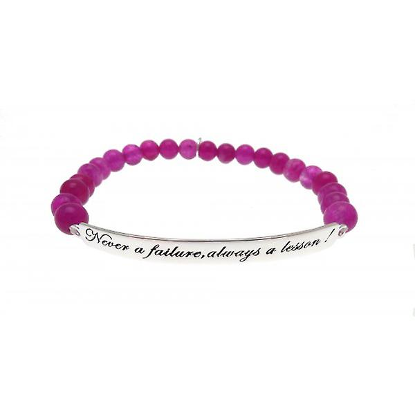 W.A.T 925 Sterling Silver 'Never A Failure Always A Lesson' Purple Jade Quote  Bracelet