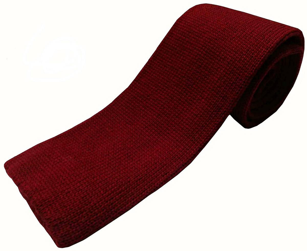 KJ Beckett Plain Wool Tie - Wine