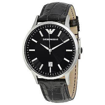 Emporio Armani AR2411 Black Leather Strap Date Window Watch