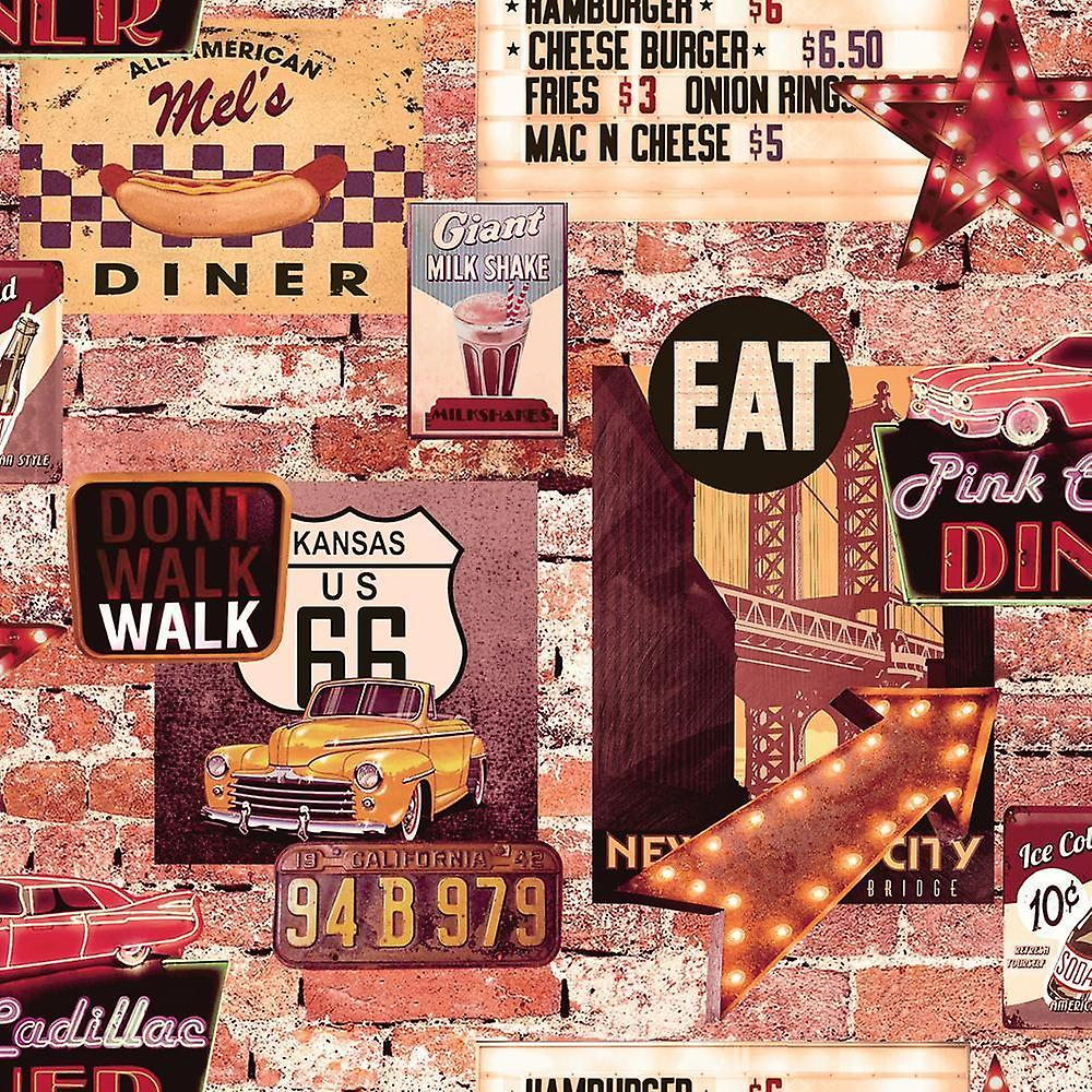 American Diner Wallpaper USA Brick Effect Rustic Slate Cars Route 66 Retro