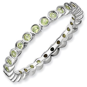 Sterling Silver Stackable Expressions Peridot Ring - Ring Size: 5 to 10