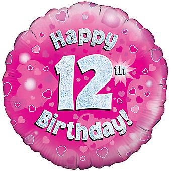 Oaktree 18 Inch Happy 12th Birthday Pink Holographic Balloon