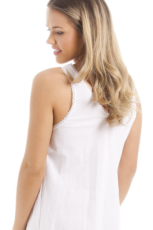 Camille Classic White Embroidered Chemise Full Slip