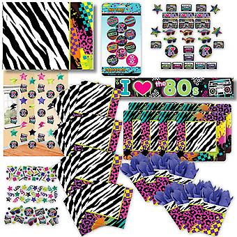 80's retro party set XL 81-teilig 8 guests 80ies 80s decoration party package