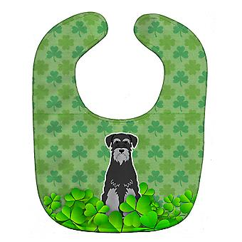 Carolines Treasures  BB6175BIB Standard Schnauzer Black Grey Shamrocks Baby Bib