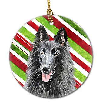 Belgiske gjeterhund Candy Cane Holiday Christmas keramiske Ornament SC9358