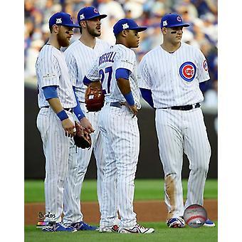 Chicago Cubs Infield Game 3 van de 2017 National League Division Series foto afdruk