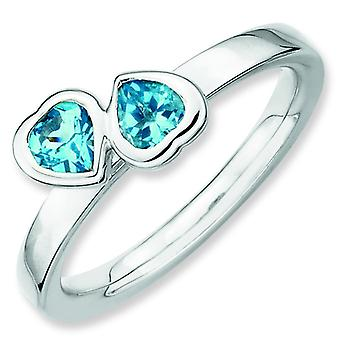 Sterling Silver Stackable Expressions Blue Topaz Double Heart Ring - Ring Size: 5 to 10