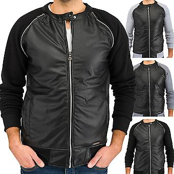 Men's Hooded Sweatshirt jacket faux leather transition jacket sweater (3 colors)