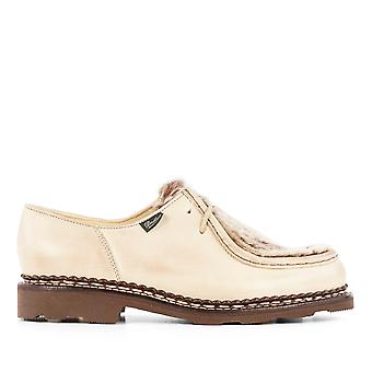 Para boot women's 130471BROWN beige leather lace-up shoes