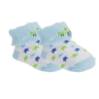Baby Boys Cotton Rich Bootie Socks With Gift Pouch (Pack Of 2)