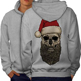 Dead Santa Claus Skull Men GreyHoodie Back | Wellcoda