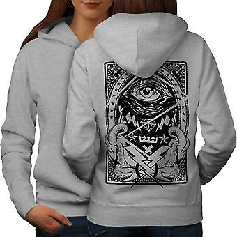 Triangle Horror Vintage Women GreyHoodie Back | Wellcoda