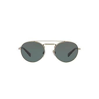 Valentino Double Bridge Oval Sunglasses In Matte Light Gold Grey Green