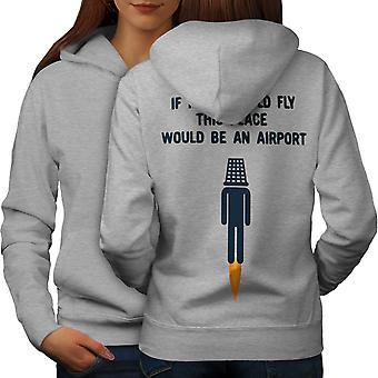Wenn Idioten fliegen Flughafen Frauen GreyHoodie Rücken | Wellcoda