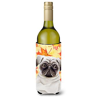 Carolines Treasures  CK1406LITERK Pug Fall Wine Bottle Beverge Insulator Hugger