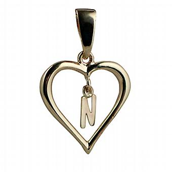9ct Gold 18x18mm heart Pendant with a hanging Initial N