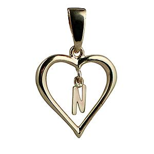 9ct Yellow Gold 18x18mm heart with a hanging Initial N