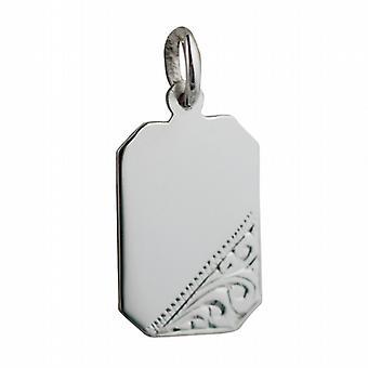 18x12mm plata mano corte grabado disco rectangular de la esquina