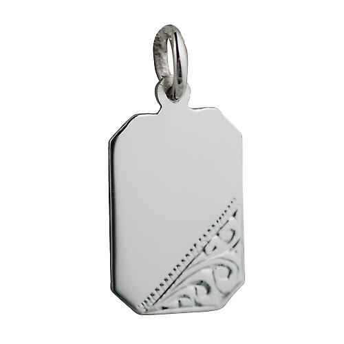Silver 18x12mm Hand engraved cut corner rectangular Disc