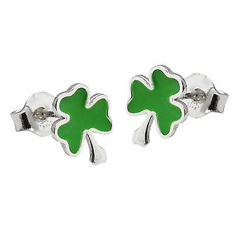 Earrings studs shamrock green silver 925