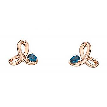 Elements Gold Topaz Twisted Profile Earrings - Rose Gold/Blue