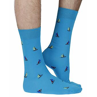 Shaldon men's combed cotton dress sock in turquoise | By Scott-Nichol