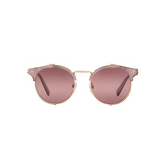 Valentino Metallic Mesh Shield Round Sunglasses In Shiny Rose Gold
