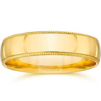 4 mm Milgrain 結婚指輪 14 K イエローゴールド